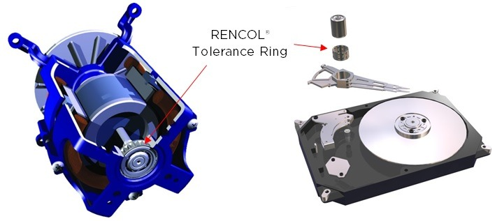 Bearing mount RENCOL Tolerance Ring Electric Motor Hard Disk Drive